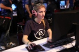 girl playing PC game
